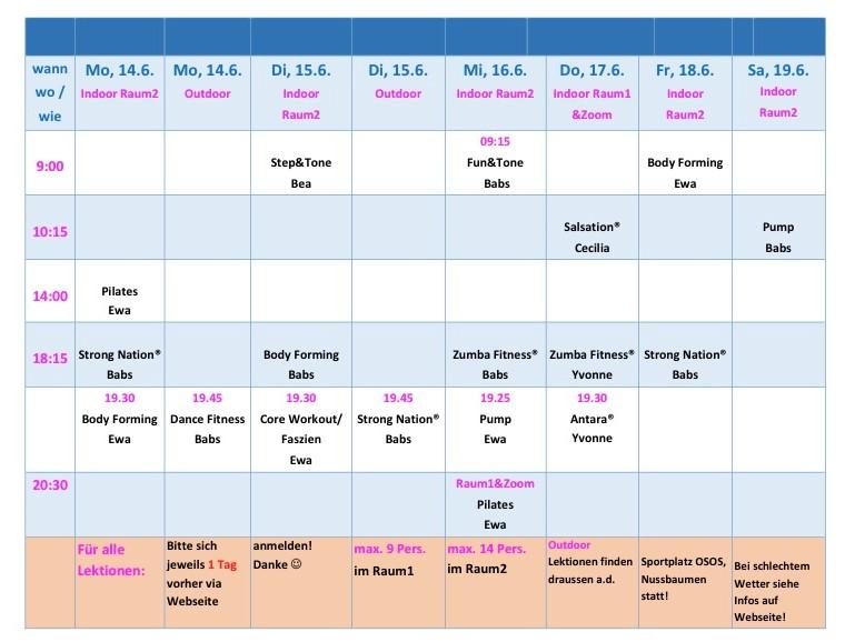 Stundenplan 14. bis 19.6.21